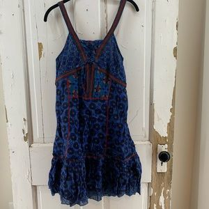 Coline Blue Red Patterned Dress Spaghetti Straps